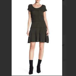 NWT Heather by Bordeaux Seamed Skater Dress Black